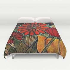 Flowers, wood burned art.Flowers Duvet Cover by Christa Bethune Smith, Cabsink09 - $99.00