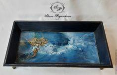 """Купить Поднос """"Глубокое синее море"""" - синий, фотостудия, подарки для женщин, интерьер, подносы"""