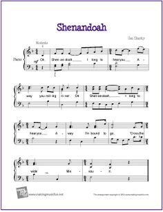 Shenandoah | Free Sheet Music for Easy Piano - http://makingmusicfun.net/htm/f_printit_free_printable_sheet_music/shenandoah-piano.htm