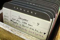 Desktop Perpetual Calendar- good idea for a guest book- have the guests write down their birthday!