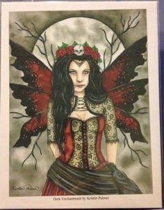 Dark Enchantment gothic fairy faerie faery moon art print picture fantasy