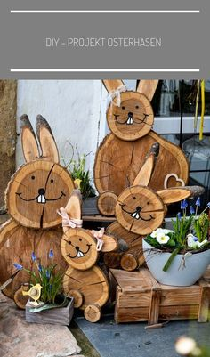You do things… Diy Projects Easter, Easter Crafts, Christmas Crafts, Wood Log Crafts, Wood Slice Crafts, Crafts To Sell, Diy Crafts, Iron Orchid Designs, Wood Animal