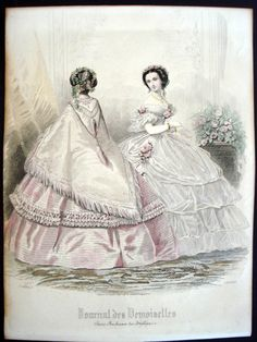 Fashion plate archive for Journal des Demoiselles - year 26 of the publication. Visit our extensive fashion plate repository. 1850s Fashion, Edwardian Fashion, Vintage Fashion, French Fashion, Historical Costume, Historical Clothing, Historical Dress, Vintage Style Dresses, Vintage Outfits