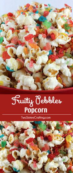It's our Fruity Pebbles Popcorn - sweet, salty, fruity and delicious and so easy to make. We've mixed a grown up snack with a beloved childhood cereal and boy does it make for a delicious dessert. The colors from the Fruity Pebbles are so Popcorn Snacks, Flavored Popcorn, Gourmet Popcorn, Popcorn Balls, Popcorn Shop, Sweet Popcorn, Homemade Popcorn, Brownie Desserts, Fruity Pebbles Cereal