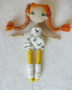 Pumpkin Handmade dollcloth doll pixie doll rag doll