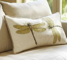 Luxe Dragonfly Embroidered Lumbar Pillow Cover - try similar design in machine free-hand embroidery. Iron on applique and embellish with black rayon tread.