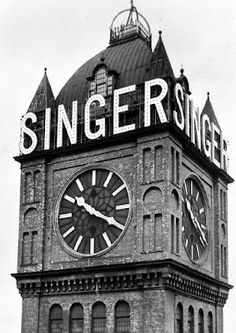 Old photograph of the Singer Clock Tower in Clydebank by Glasgow , Scotland . This Scottish clock clock tower stood over the central wing of. Old Photographs, Old Photos, Tower Stand, The Blitz, Antique Sewing Machines, Glasgow Scotland, Scandinavian Christmas, Sympathy Cards, The Good Old Days