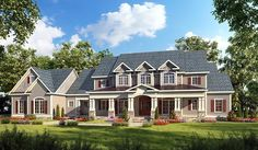 I love this so so so much!  Country Craftsman Farmhouse Traditional House Plan 58272   Total Living Area: 3277 Main Living Area: 2507 Upper Living Area: 770 Bonus Area: 969 Garage Type: Attached  Garage Bays: 3 House Width: 102'4 House Depth: 58' Number of Stories: 2 Bedrooms: 4 Full Baths: 4 Half Baths: 1