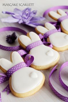 Cute Bunny bobtail sugar cookies with purple ribbons - Easter cakes and baking inspiration, edible gift idea