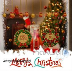 Gold Base Christmas Circle Santa Star Wall Decals Removable Window Sticker Decor in Home & Garden, Home Décor, Wall Stickers   eBay!