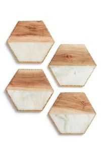 Fall Home Decor Ideas - Warm wood and marble coasters with gold edges from Nordstrom