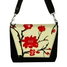 padded camera bag tote - japanese inspired tree branch.