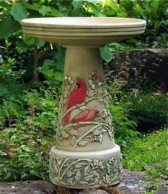 Hand Painted Summer Cardinal Bird Bath-Burley Clay