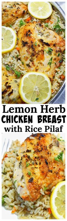 This Lemon Herb Chicken Breast with Rice Pilaf recipe is a very simple and gorgeous meal that is fantastic for entertaining, or just a weeknight meal. The combination of herbs, garlic and lemon just makes my mouth water.