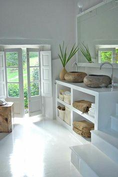 meuble salle de bain bambou pas cher, idees salle de bain deco