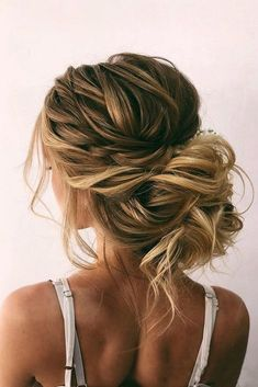 42 Wedding Hairstyles - Romantic Bridal Updos ❤ romantic wedding updos messy b. - 42 Wedding Hairstyles - Romantic Bridal Updos ❤ romantic wedding updos messy bun with bold side dutch braid on blonde hair oksana_sergeeva_stilist - Long Hair Wedding Styles, Braided Hairstyles For Wedding, Wedding Hair Down, Wedding Hair And Makeup, Prom Bun Hairstyles, Messy Wedding Updo, Wedding Hair With Braid, Bridal Hair Updo Loose, Wedding Hair Blonde