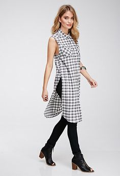 Plaid High-Slit Longline Shirt | Forever 21 - 2000097948