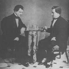 Paul Morphy, the pride and sorrow of chess (right) playing Lewis Elkins in 1859.