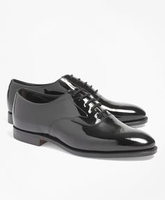 Polished to perfection and befitting of the most elegant black-tie affairs. Brooks Brothers formal footwear is exquisitely detailed and crafted in rich patent leather. Black leather lining. Leather soles. Five eyelets. Goodyear® welt construction. Made in England.