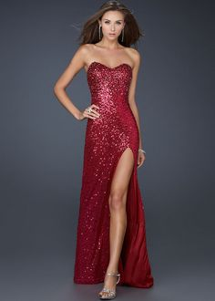 Hip High Slit Dress | ... Dresses :: Red Strapless Sparkly Beaded High Slit Long Prom Dress