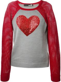LOVE MOSCHINO heart detail sweater Wool Red Grey IT 38 #LoveMoschino #Crewneck