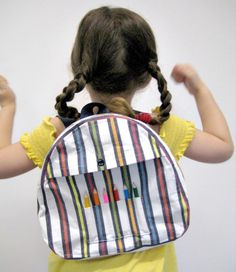 Back to school cuteness! Multicoloured Striped Backpack with integrated colouring pencils by leonandcoco, $32.99