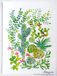 Green Cacti Succulent Jungle Poster Illustration Watercolor Painting Reproduction - Botanical Nature Plant Art Print - Wall Art Decor A3