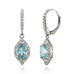 White Gold 4 Ct Blue Topaz Pear Teardrop Design Stud Earrings .925 Sterling Silver Gift For Her Bridesmaid Bridal Wedding Jewelry