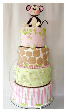Pastel monkey jungle cake