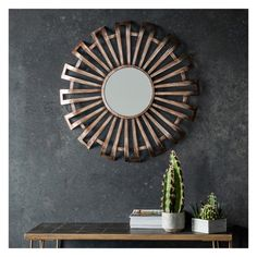 Nixon bronze metallic round mirror | modern round mirror Shop > http://www.exclusivemirrors.co.uk/wall-mirrors/nixon-mirror-80x80cm