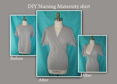 The Eighth Daughter: DIY maternity nursing shirt from a mens under shirt