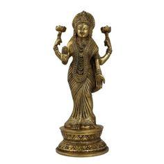 Amazon.com: Figurine Lakshmi Idol Goddess Statue And Sculpture; Brass; 4 X 4 X 11 Inches: Furniture & Decor