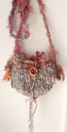 rustic handknit  shoulder bag  shell and acorn gathering bag