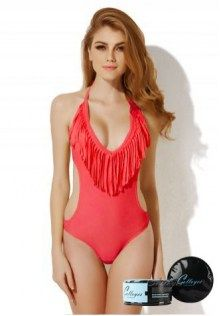 4b225c563a Sexy Red One-piece Swimwear with Fringe and Side Cut-outs in Low Price