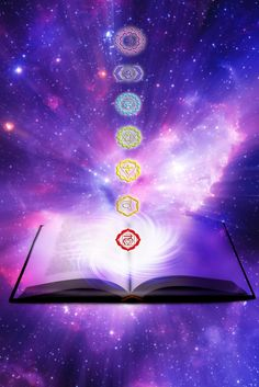 Lesson about chakra energy. Seven symbols of chakra with a book over a starry Un , Chakras, Past Life Regression, Akashic Records, Psychic Readings, Spiritual Growth, Spiritual Guidance, Spiritual Quotes, Chakra Healing, Book Of Life