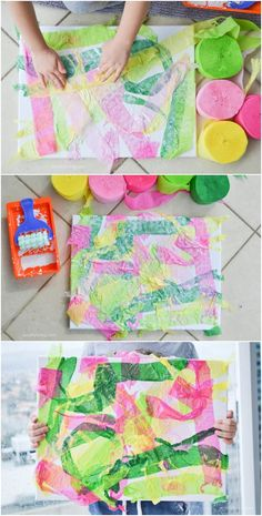 Easy Crepe Paper Canvas Art with Kids. Beautiful and colorful art you can make with toddlers, preschoolers and young children. Crafting a tutorial paper re Kindergarten Art Projects, In Kindergarten, Art Projects For Kindergarteners, Process Art Preschool, Preschool Art Activities, Therapy Activities, Classe D'art, Easy Canvas Art, Toddler Canvas Art