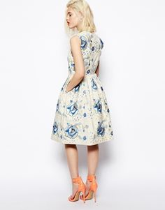 Enlarge ASOS Premium Embroidered Skater Dress With Blue Flowers