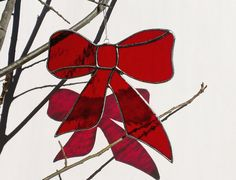 Red Christmas Bow Stained Glass Christmas by JBsGlassHouse on Etsy