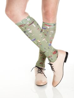 Strathcona Stockings ode to mushrooms is the perfect sock for fungis and gals (get it?). Wear them with your wellies.