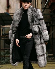 Men's Fox fur coat, crafted of Silver Fox fur from SAGA Finland. Fur Coat Outfit, Estilo Glamour, Long Fur Coat, Fox Coat, Mens Fur, Men's Coats And Jackets, Silver Man, Fur Jacket, Jacket Men