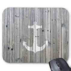 Hipster Vintage White Nautical Anchor on Gray Wood Mouse Pad