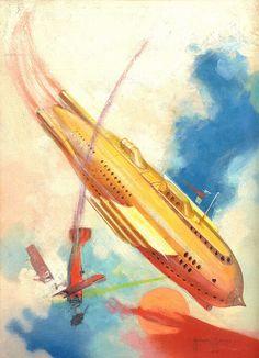 1930 - Space Ship / Airplane / Vintage Futurism / Retro Future / Illustration )