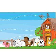 Animal Wall Mural- Farm Animals Kids Wall Murals, Mural Wall, Farm Animals, Toy Chest, Nursery Decor, Wallpaper Murals, Sunflowers, Children, Archive
