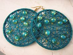 Crochet Turquoise Earrings/ Geometric Dangle Earrings/ by Nimmet