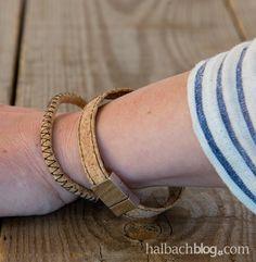 halbachblog I DIY mit Halbach Korkstoff I Korkstoff Armband nähen I Korkstoff Armband in zwei Varianten