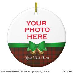 MacQueen Scottish Tartan Christmas Photo Double-Sided Ceramic Round Christmas Ornament