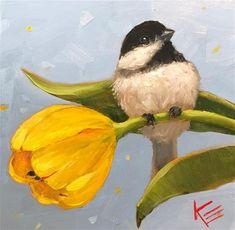 "Daily Paintworks - ""Spring Chickadee"" - Original Fine Art for Sale - © Krista Eaton Spring Drawing, Spring Painting, Spring Art, Bird Painting Acrylic, Watercolor Bird, Watercolor Paintings, Oil Paintings, Wildlife Art, Animal Paintings"