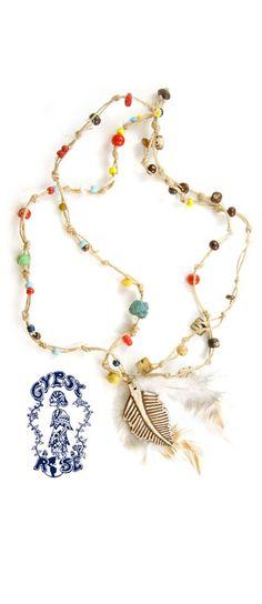 Beaded hemp feather necklace