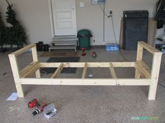 DIY Outdoor Couch Do you need extra outdoor seating? This step-by-step tutorial walks you through building the perfect outdoor sofa in about 4 hours using Outdoor Couch, Outdoor Glider, Adirondack Furniture, Best Outdoor Furniture, Cool Furniture, Furniture Outlet, Furniture Stores, Discount Furniture, Wooden Furniture