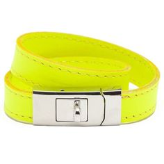 CC Skye Portico Bracelet Neon Yellow ($65) ❤ liked on Polyvore featuring jewelry, bracelets, accessories, belts, neon, cc skye, neon bangles, neon yellow jewelry, leather jewelry and neon jewelry